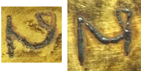 Examples of the letter n on the inscribed object StH 550